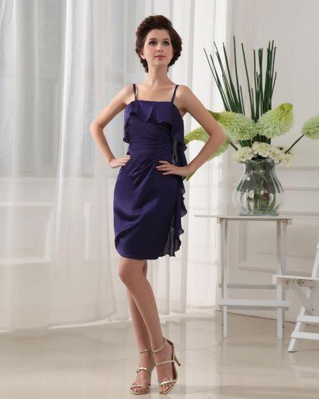 Spaghetti Straps Sleeveless Ruffle Mini Length Chiffon Woman Little Black Party Dress