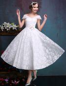 Belles Robe De Mariée Courte De 2016 Au Large De L'épaule Dentelle Blanche Robe De Mariée Avec Fleurs Ceinture