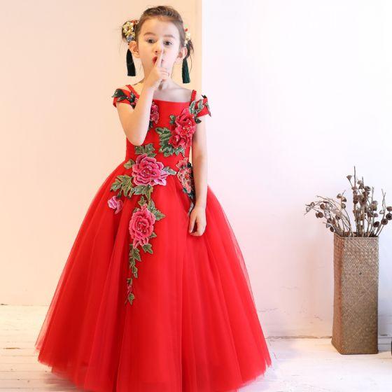 Style Chinois Église Robe Pour Mariage 2017 Robe Ceremonie Fille Rouge Princesse Longue Encolure Carrée Manches Courtes Fleur Appliques Faux Diamant