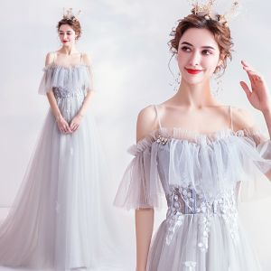 Chic / Beautiful Sky Blue Evening Dresses  2020 A-Line / Princess Spaghetti Straps Short Sleeve Appliques Lace Beading Sweep Train Ruffle Backless Formal Dresses