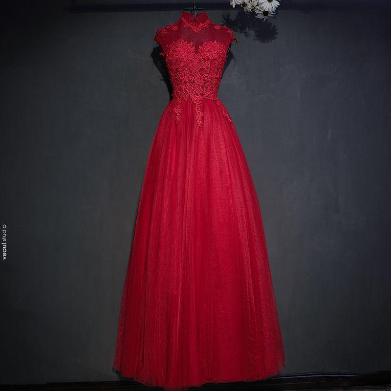 Schöne Rot Festliche Kleider 2017 Spitze Blumen Pailletten Stehkragen Ärmellos Lange Ballkleid Abendkleider