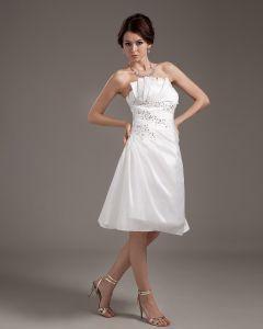 Chiffon Rüschen Trägerlosen Kurzen Hochzeitskleid Brautkleider