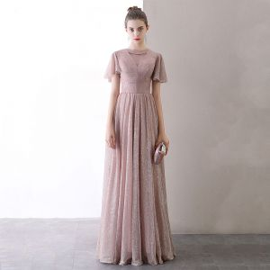 Affordable Blushing Pink Evening Dresses  2020 A-Line / Princess See-through Scoop Neck Short Sleeve Glitter Tulle Floor-Length / Long Formal Dresses