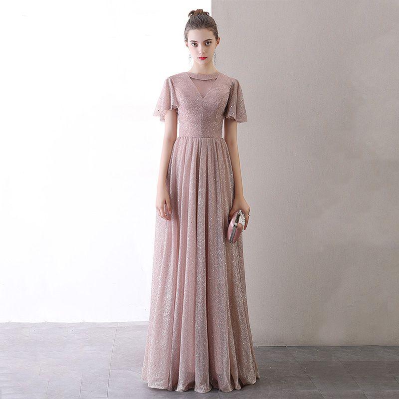 Affordable Blushing Pink Evening Dresses  2020 A-Line / Princess See-through Scoop Neck Short Sleeve Glitter Tulle Floor-Length / Long Formal Dresses