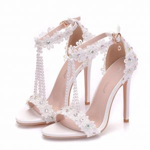 Charming White Wedding Shoes 2018 T-Strap Lace Flower Pearl Rhinestone Ankle Strap 11 cm Stiletto Heels Open / Peep Toe Wedding High Heels