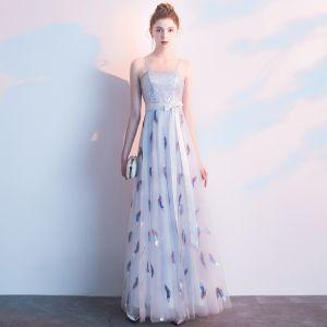 Elegante Silber Abendkleider 2019 A Linie Spaghettiträger Spitze Blumen Pailletten Schleife Ärmellos Rückenfreies Festliche Kleider