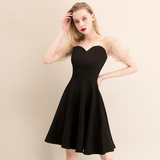 Moda Czarne Homecoming Sukienki Na Studniówke 2020 Princessa Kwadratowy Dekolt Bufiasta Kótkie Rękawy Perła Bez Pleców Krótkie Krótka Czarna Sukienka