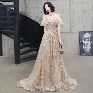 Charming Champagne Evening Dresses  2020 A-Line / Princess Spaghetti Straps Sequins Lace Flower Short Sleeve Backless Sweep Train Formal Dresses