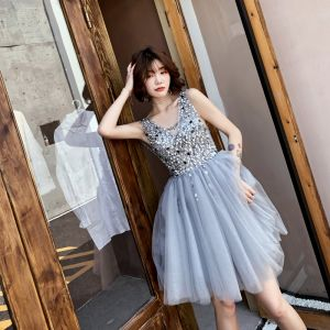 Chic / Beautiful Grey Party Dresses 2019 A-Line / Princess V-Neck Sleeveless Sequins Short Ruffle Backless Formal Dresses