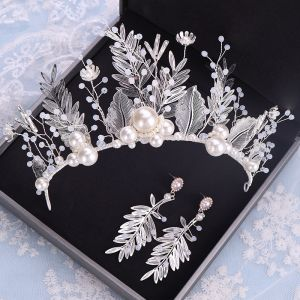 Flower Fairy Silver Leaf Bridal Jewelry 2020 Metal Beading Pearl Tiara Earrings Wedding Accessories