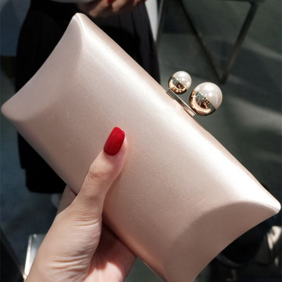 Modest / Simple Beige Pearl Clutch Bags 2018
