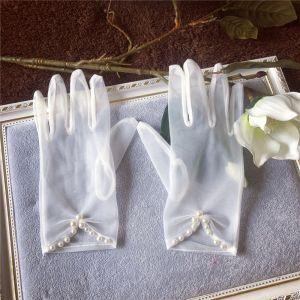 Moda Blanco Guantes de novia 2020 Rebordear Perla Tul Gala Boda Accesorios
