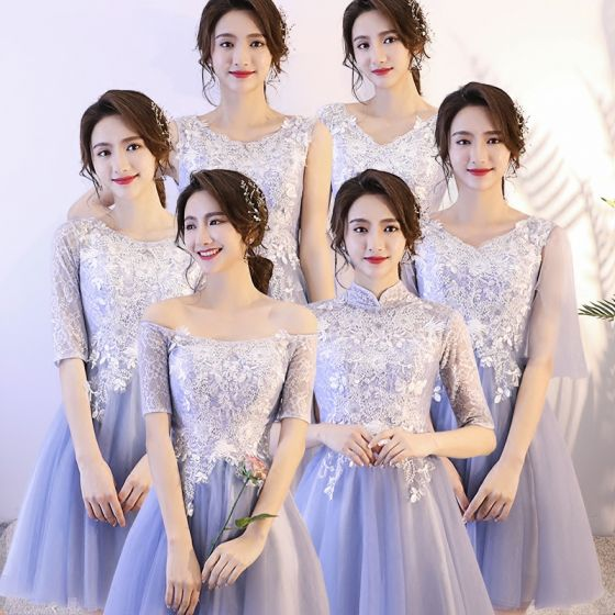 Affordable Sky Blue Bridesmaid Dresses 2018 A-Line / Princess Appliques Lace Short Ruffle Backless Wedding Party Dresses