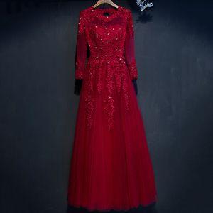 Hermoso Rojo Vestidos Formales 2017 A-Line / Princess De Encaje Flor Rebordear Crystal Scoop Escote Manga Larga Largos Vestidos de noche