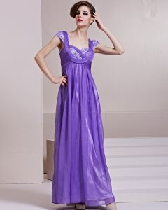 Sabrina Neckline Capped Sleeve Floor Length Beading Tencel Empire Woman Evening Dress