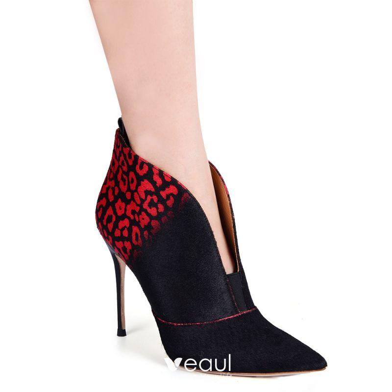 Eenvoudige Zwarte Rode Toevallig Dames Laarzen 2020 Leer 10 cm Naaldhakken Stiletto Spitse Neus Laarzen