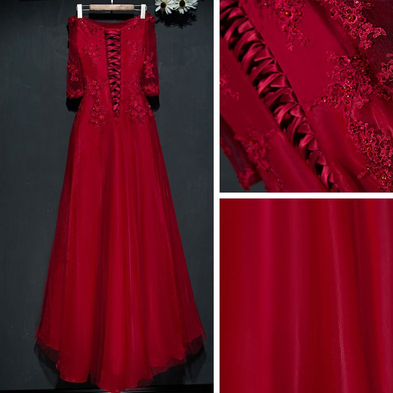Chic / Beautiful Red Formal Dresses Evening Dresses  2017 Lace Flower Sequins Off-The-Shoulder 1/2 Sleeves Ankle Length A-Line / Princess