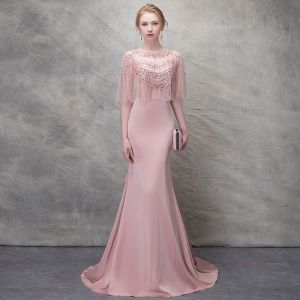 Elegant Blushing Pink Evening Dresses  2017 Trumpet / Mermaid Lace Flower Crystal Scoop Neck 1/2 Sleeves Sweep Train Formal Dresses