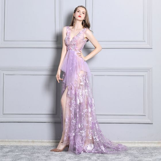 Sexy Lilac Cocktail Dresses 2019 See-through Lace Rhinestone V-Neck Sleeveless Backless Sweep Train Formal Dresses