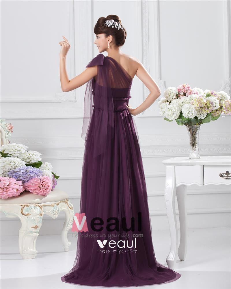 Chiffon Bowtie One Shoulder Floor Length Bridesmaid Dresses