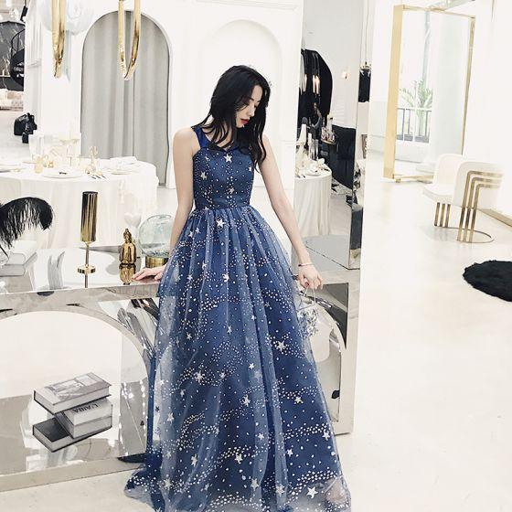 Charming Navy Blue Starry Sky Evening Dresses  2019 A-Line / Princess V-Neck Star Sequins Sleeveless Backless Formal Dresses