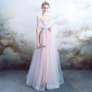 Elegant Sky Blue Pearl Pink Evening Dresses  2018 A-Line / Princess Spaghetti Straps Short Sleeve Appliques Lace Pearl Rhinestone Floor-Length / Long Ruffle Backless Formal Dresses