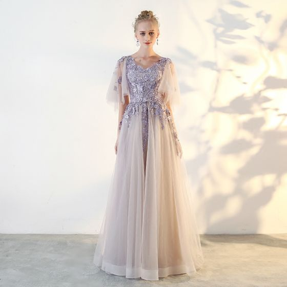 Chic / Beautiful Lavender Prom Dresses 2018 A-Line / Princess Lace Appliques V-Neck 1/2 Sleeves Floor-Length / Long Formal Dresses