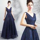 Bling Bling Navy Blue Starry Sky Evening Dresses  2018 A-Line / Princess V-Neck Sleeveless Glitter Floor-Length / Long Ruffle Backless Formal Dresses