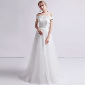 Classy White Wedding Dresses 2019 A-Line / Princess Off-The-Shoulder Pearl Lace Flower Sleeveless Backless Sweep Train