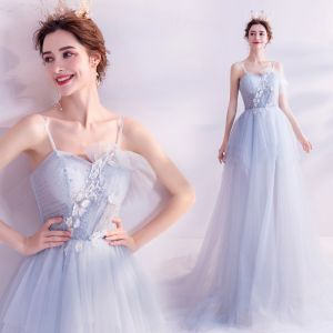Classy Sky Blue Evening Dresses  2020 A-Line / Princess Sleeveless Beading Sequins Lace Flower Spaghetti Straps Backless Sweep Train Formal Dresses