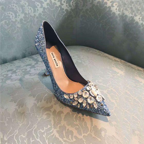 Brillante Azul Zapatos De Mujer 2018 Cuero Rhinestone Lentejuelas 9 cm Stilettos / Tacones De Aguja Punta Estrecha Noche Tacones