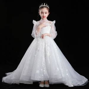 Victorian Style White See-through Flower Girl Dresses 2020 Ball Gown High Neck Puffy Long Sleeve Appliques Lace Sequins Beading Sweep Train Ruffle
