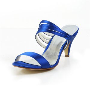 Women's Peep Toe Strappy Mid Heels Royal Blue Satin Slingbacks