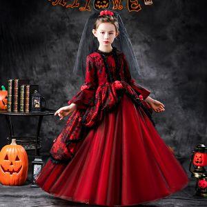 Halloween Cosplay Rode Bloemenmeisjes Jurken 2020 Baljurk Ronde Hals 3/4 Mouwen Bell mouwen Appliques Kant Bloem Lange Ruche
