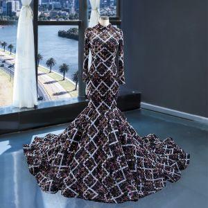 Maravilloso Negro Concurso de belleza Vestidos de noche 2020 Trumpet / Mermaid Cuello Alto Manga Larga Rebordear Glitter Poliéster Chapel Train Ruffle Sin Espalda Vestidos Formales