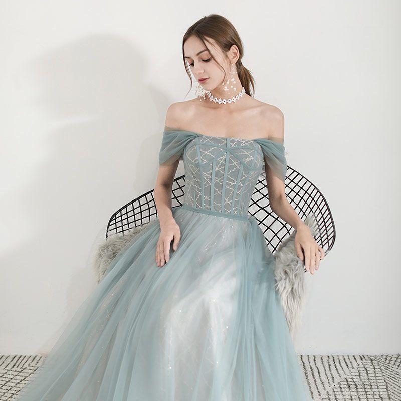 Élégant Vert Robe De Soirée 2019 Princesse De l'épaule Manches Courtes Glitter Tulle Longue Volants Dos Nu Robe De Ceremonie