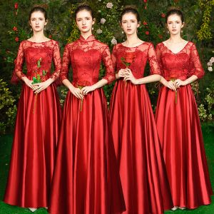 Affordable Red Satin See-through Bridesmaid Dresses 2019 A-Line / Princess Appliques Lace Floor-Length / Long Backless Wedding Party Dresses