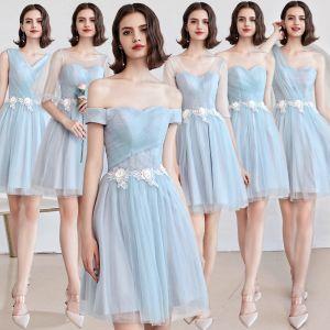 Niedrogie Błękitne Sukienki Dla Druhen 2019 Princessa Aplikacje Z Koronki Kwiat Krótkie Wzburzyć Bez Pleców Sukienki Na Wesele