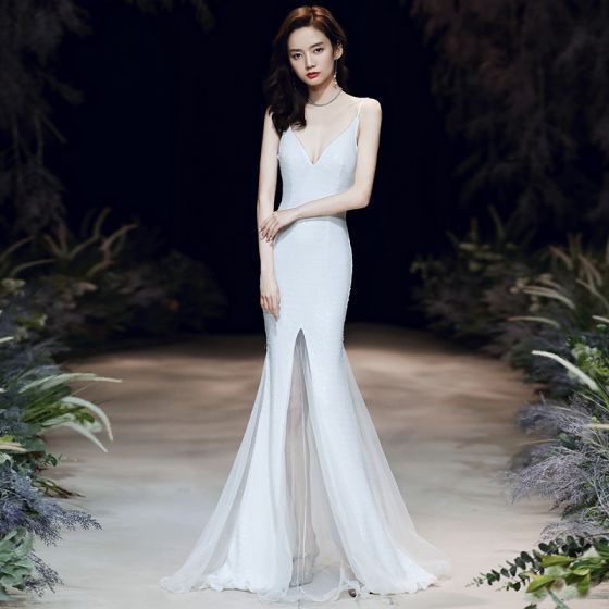 Sexy White Evening Dresses  2020 Trumpet / Mermaid Spaghetti Straps Sleeveless Sequins Sweep Train Ruffle Backless Formal Dresses