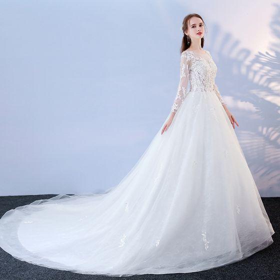Asequible Blanco Traspasado Vestidos De Novia 2017 Ball Gown Scoop Escote Manga Larga Sin Espalda Apliques Con Encaje Chapel Train
