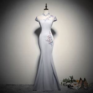 Chinese style Grey See-through Evening Dresses  2020 Trumpet / Mermaid High Neck Cap Sleeves Flower Appliques Lace Beading Floor-Length / Long Backless Formal Dresses