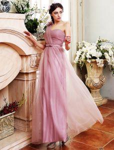 Brautjungfernkleider 2016 Vier Stile Lila Tüll Lang Kleider Für Hochzeit Mit Schärpe