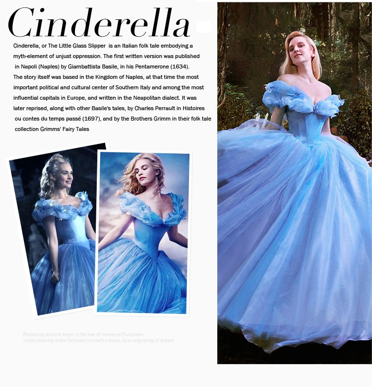 Luxury High-grade 2015 Cinderella Movie Custume Prom Dress