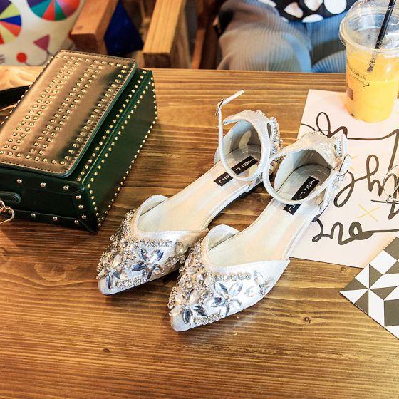 Elegantes 2017 Plata Noche Leatherette Crystal Planos Plataforma Flat Vestidos De Novia