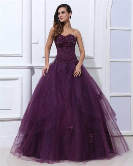 Ball Gown Sleeveless Satin Yarn Embroidery Ruffles Applique Sweetheart Floor Length Quinceanera Prom Dresses