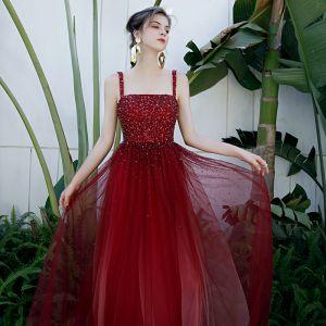 High-end Burgundy Dancing Prom Dresses 2020 A-Line / Princess Shoulders Sleeveless Sequins Beading Floor-Length / Long Ruffle Backless Formal Dresses