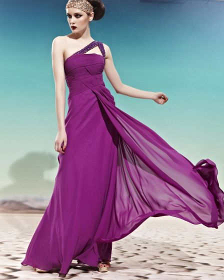 Strapless One Shoulder Beading Decorated Sleeveless Backless Floor Length Charmeuse Woman Evening Dress
