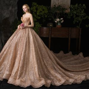 Sparkly Champagne See-through Wedding Dresses 2019 Ball Gown Scoop Neck Long Sleeve Heart-shaped Backless Beading Sequins Tulle Royal Train Ruffle