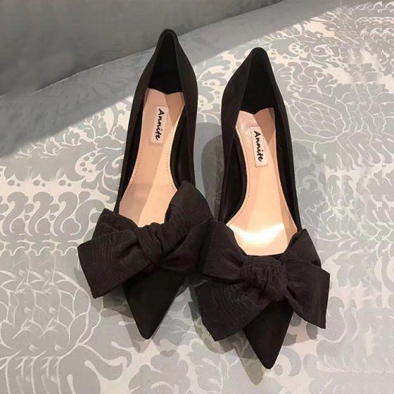 Hermoso Negro Casual Bowknot Tacones 2020 5 cm Stilettos / Tacones De Aguja Punta Estrecha Tacones