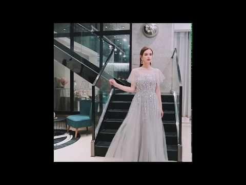 Luxury / Gorgeous Grey See-through Evening Dresses  2019 A-Line / Princess Square Neckline Short Sleeve Sequins Beading Floor-Length / Long Ruffle Formal Dresses